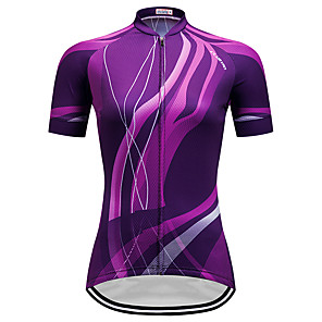 cheap Cycling Jerseys-Women's Short Sleeve Cycling Jersey Purple Stripes Gradient Plus Size Bike Jersey Top Mountain Bike MTB Road Bike Cycling Breathable Quick Dry Sports Clothing Apparel / Micro-elastic