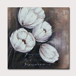 cheap Floral/Botanical Paintings-Oil Painting Hand Painted - Holiday Floral / Botanical Classic Modern Stretched Canvas