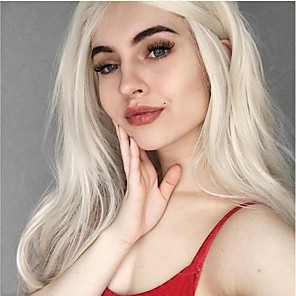 cheap Synthetic Lace Wigs-Synthetic Lace Front Wig Curly Layered Haircut Lace Front Wig Medium Length Platinum Blonde Synthetic Hair 26 inch Women's Women Youth White