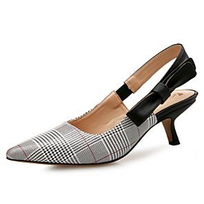 ieftine Sandale de Damă-Pentru femei Sandale Primăvară Toamnă Pantofi Pumps Vârf ascuțit Birou și carieră Casă Tartan / Carouri PU Gri