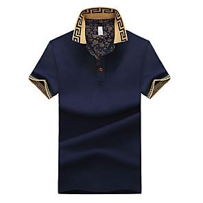 cheap Smart Switch-Men's Plus Size Polo Solid Colored Print Tops Cotton Shirt Collar White Black Blue