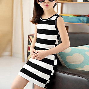 cheap Kids' Boots-Kids Girls' Cute Street chic Striped Sleeveless Dress Black