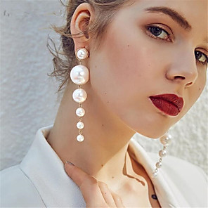 cheap Earrings-Women's Pearl Earrings Classic Love Statement Elegant Romantic Imitation Pearl Earrings Jewelry Beige / White For Party Daily Holiday 1 Pair