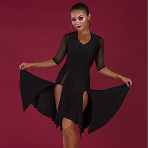cheap Latin Dancewear-Latin Dance Dress Split Ruching Women's Performance Half Sleeve Spandex