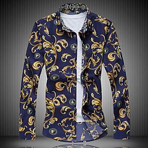 cheap Tool Sets-Men's Shirt Geometric Print Tops Blue Yellow Navy Blue