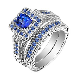 cheap Jewelry Sets-Men's Women's Ring Rings Set 2pcs Blue Alloy Gift Daily Jewelry Pave Cool