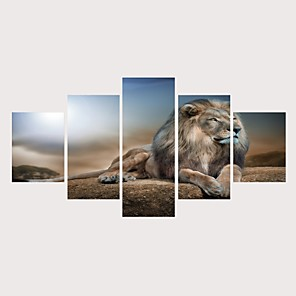 cheap Christmas Decorations-Print Rolled Canvas Prints Stretched Canvas Prints - Animals Classic Theme Comtemporary Modern Five Panels Art Prints