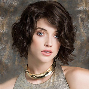 cheap Synthetic Trendy Wigs-Synthetic Wig Curly Asymmetrical Wig Short Medium Brown / Dark Auburn Synthetic Hair 12 inch Women's Party Brown