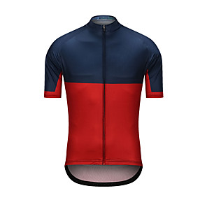 cheap Cycling Jerseys-Men's Short Sleeve Cycling Jersey Red+Blue Patchwork Bike Jersey Top Sports Clothing Apparel / High Elasticity