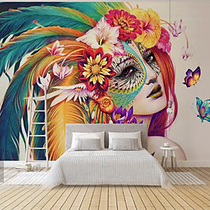cheap Wall Murals-Wallpaper / Mural / Wall Cloth Canvas Wall Covering - Adhesive required Art Deco / 3D / Angel