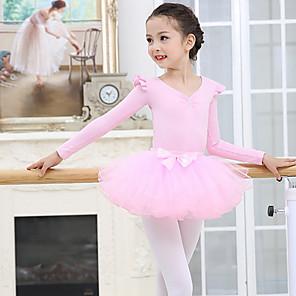 cheap Ballet Dancewear-Kids' Dancewear Ballet Skirts Cascading Ruffles Girls' Training Performance Long Sleeve Mesh Spandex