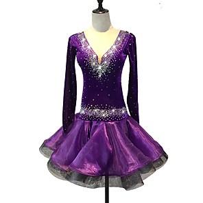 cheap Latin Dancewear-Latin Dance Dress Crystals / Rhinestones Women's Training Performance Long Sleeve High Spandex Organza