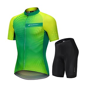 cheap Cycling Jersey & Shorts / Pants Sets-Nuckily Men's Cycling Jersey with Shorts Green / Yellow Gradient Bike Clothing Suit Breathable Sports Polyester Spandex Spots & Checks Mountain Bike MTB Road Bike Cycling Clothing Apparel