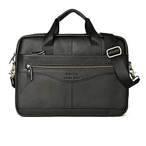 cheap Laptop Bags & Backpacks-Men's Bags Cowhide Briefcase Zipper for Daily / Office & Career Black / Brown