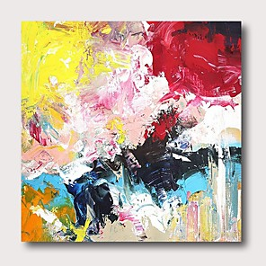 cheap Abstract Paintings-Oil Painting Hand Painted Abstract Comtemporary Modern Stretched Canvas With Stretched Frame