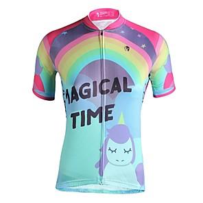 cheap Cycling Jerseys-ILPALADINO Women's Short Sleeve Cycling Jersey Pink Cartoon Bike Jersey Top UV Resistant Breathable Reflective Strips Sports Clothing Apparel / Back Pocket