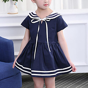 cheap Girls' Dresses-Kids Girls' Cute Street chic Patchwork Patchwork Short Sleeve Dress White