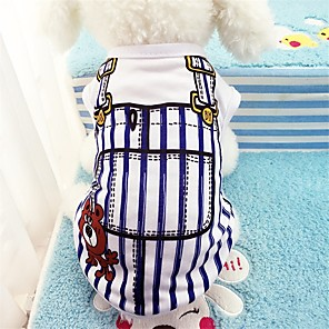 cheap Dog Clothes-Dogs Vest Dog Clothes Blue Pink Costume Cotton Stripes Casual / Daily S M L XL