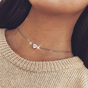 cheap Necklaces-Women's Clear Crystal Pendant Necklace Classic Heart Simple Elegant Sweet Silver Plated Gold Plated Rose Gold Plated Gold Silver 45 cm Necklace Jewelry 1pc For Gift Evening Party