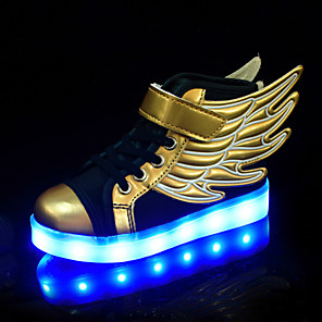 cheap Kids' LED Shoes-Boys' / Girls' Sneakers LED / Comfort / LED Shoes PU Toddler(9m-4ys) / Little Kids(4-7ys) / Big Kids(7years +) Lace-up / Luminous Gold Spring / Fall / Color Block / Rubber