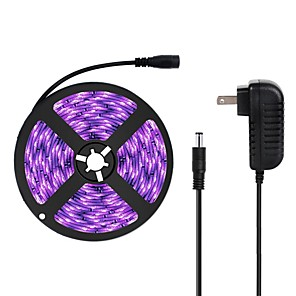 cheap Lamp Bases & Connectors-ZDM 16.4FT/5M LED Light Strips Flexible Tiktok Lights UV Black Light 395-405nm 3528 8mm LED Flexible Strip with 2A Power Supply for Indoor Fluorescent Dance Party Stage Lighting Body Paint