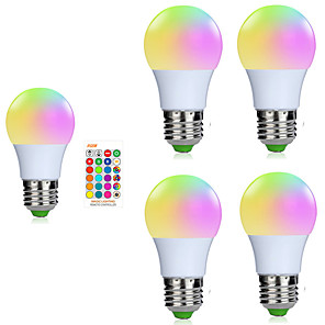cheap LED Smart Bulbs-5pcs A50 3W 200-250LM RGB E27 LED Bulb LED Lamp 16 Color 24 key IR Remote Control Chandelier for Living Room Dimmable AC85-265V