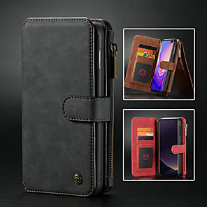 cheap Samsung Case-Case For Samsung Galaxy Galaxy S10 / Galaxy S10 Plus / Galaxy S10 E Wallet / Card Holder / Shockproof Full Body Cases Solid Colored Hard PU Leather