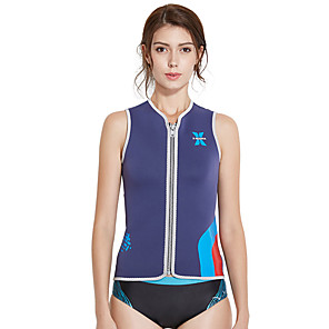 cheap Wetsuits, Diving Suits & Rash Guard Shirts-Dive&Sail Women's Wetsuit Top 3mm Neoprene Top Thermal / Warm Quick Dry Sleeveless Front Zip - Swimming Diving Patchwork Solid Colored Summer / High Elasticity