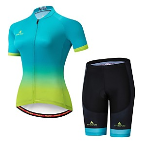 cheap Cycling Jerseys-Miloto Women's Short Sleeve Cycling Jersey with Shorts Bule / Black Bike Jersey Padded Shorts / Chamois Clothing Suit Breathable Moisture Wicking Reflective Strips Sports Lycra Multi Color Clothing