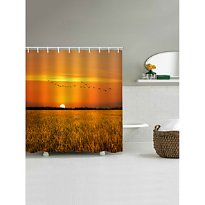 cheap Wall Stickers-Shower Curtains & Hooks Country Polyester Machine Made Waterproof Bathroom