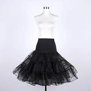 cheap Historical & Vintage Costumes-Petticoat Hoop Skirt Tutu Under Skirt 1950s Cotton Red Red+Black Black / White Petticoat / Crinoline