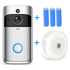 cheap Video Door Phone Systems-HQCAM Smart Wireless Video Doorbell Wifi doorbell Camera Intercom Door Bell Video doorbel Call For Apartments IR Alarm Max support 32G TF+3pcs 18650 battery 1 mp IP Camera Indoor Support 0 GB / CMOS