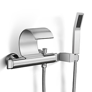 cheap Bathroom Sink Faucets-Bathroom Sink Faucet - Waterfall / Rain Shower / Handshower Included Chrome Wall Mounted Two Handles Two HolesBath Taps