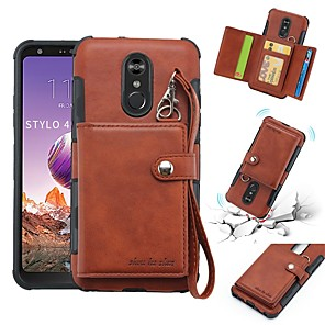 cheap Other Phone Case-Case For LG LG Q Stylus / LG Stylo 4 Wallet / Card Holder / Shockproof Back Cover Solid Colored Soft PU Leather