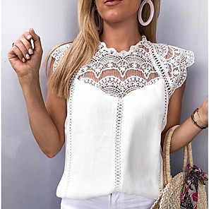 cheap Women's Boots-Women's Solid Colored Lace Loose Blouse White / Black