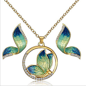 cheap Jewelry Sets-Women's Stud Earrings Pendant Necklace Vintage Style Butterfly Vintage Bohemian Rhinestone Gold Plated Earrings Jewelry Green / Yellow / Blue For Party Gift 1 set