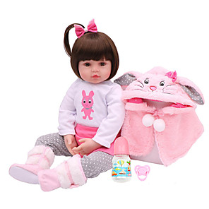cheap Reborn Doll-NPKCOLLECTION 18 inch NPK DOLL Reborn Doll Girl Doll Baby Girl Gift Cute Artificial Implantation Brown Eyes Cloth 3/4 Silicone Limbs and Cotton Filled Body with Clothes and Accessories for Girls