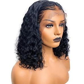 billiga Äkta peruker med hätta-Äkta hår Obehandlat Mänsligt hår Spetsfront Peruk Deep Parting Gratis del Rihanna stil Brasilianskt hår Lockigt Naturlig Peruk 130% Hårtäthet med babyhår Naturlig hårlinje Till färgade kvinnor 100