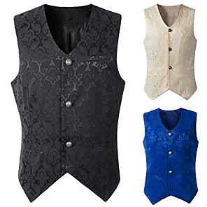 cheap Historical & Vintage Costumes-Plague Doctor Medieval Steampunk Vest Men's Costume Black / White / Blue Vintage Cosplay Party