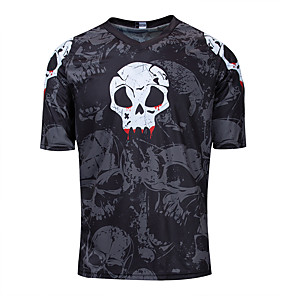 cheap Cycling Jerseys-Men's Short Sleeve Cycling Jersey Downhill Jersey Dirt Bike Jersey Black Skull Bike Jersey Top Mountain Bike MTB Road Bike Cycling Breathable Quick Dry Sweat-wicking Sports Clothing Apparel