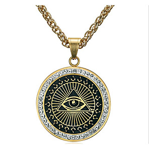 cheap Pendant Necklaces-Men's Cubic Zirconia Pendant Necklace Classic Totem Series Eyes Fashion Titanium Steel Gold Silver 60 cm Necklace Jewelry 1pc For Daily Holiday