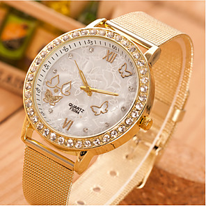 cheap Quartz Watches-Women's Quartz Watches Rhinestone Butterfly Fashion Gold Stainless Steel Quartz Gold Casual Watch 1 pc Analog One Year Battery Life