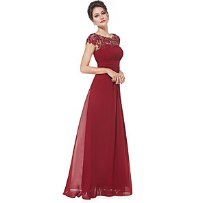 cheap Bridesmaid Dresses-A-Line Empire Red Wedding Guest Prom Dress Boat Neck Sleeveless Floor Length Chiffon Lace with Pleats Lace Insert 2020