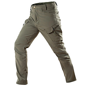 cheap Hiking Trousers & Shorts-Men's Hiking Pants Softshell Pants Hiking Cargo Pants Solid Color Outdoor Waterproof Breathable Warm Quick Dry Fleece Pants / Trousers Bottoms Dark Grey Black Army Green Camouflage Grey Camping