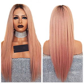 cheap Synthetic Lace Wigs-Synthetic Wig kinky Straight Middle Part Wig Ombre Long Orange Synthetic Hair 26 inch Women's Women Ombre