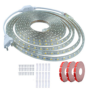 cheap Neon LED Lights-KWB 15m LED Light Strips Waterproof Tiktok Lights 900 LEDs SMD5050 10mm 1Set Mounting Bracket Warm White White Red Cuttable Decorative 220-240 V 1 set