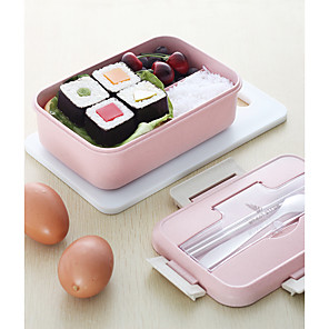 cheap Lunch Boxes & Bags-Microwave Lunch Box Wheat Straw Dinnerware Food Storage Container