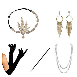 cheap Historical & Vintage Costumes-Charleston Vintage 1920s The Great Gatsby Costume Accessory Sets Flapper Headband Women's Feather Costume Necklace Earrings Set Golden / Black+Golden / Red+Golden Vintage Cosplay Festival / Gloves