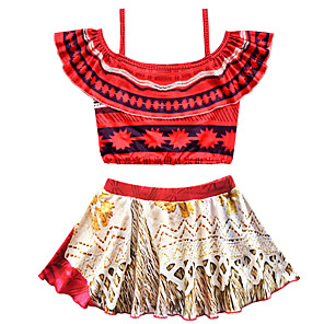 cheap Movie & TV Theme Costumes-Swimsuit Swimwear Cosplay Costumes Bathing Suit Moana Beach Girl Kid's Cosplay Costumes Cosplay Halloween Yellow Red Printing Christmas Halloween Carnival / Top / Skirt / Top / Skirt