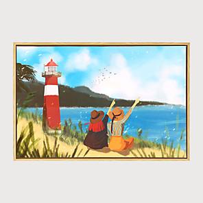 cheap Abstract Paintings-Framed Art Print Framed Canvas - Landscape Floral / Botanical Plastic Illustration Wall Art